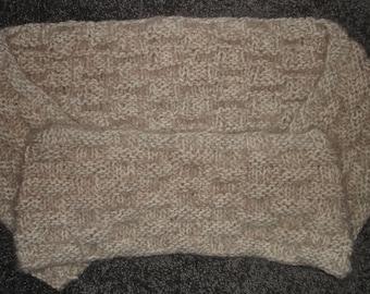 "Beige Angel Hair Basket Weave Knit Infinity Scarf - 7"" x 67"""