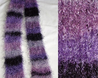 Thick Magic Purple and Plum Knit Scarf 5.5 x 82