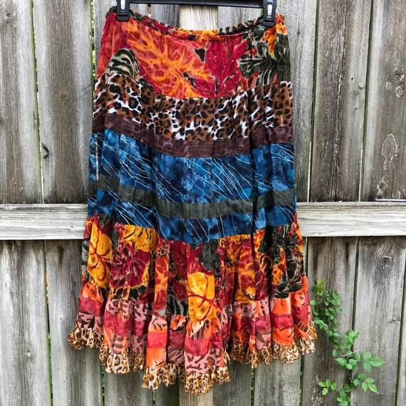 Vintage Units Skirt Boho Y2K 1990s Peasant Medium
