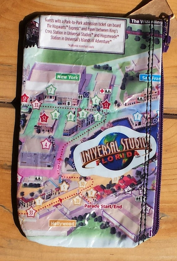UNIVERSAL STUDIOS repurposed Theme Park Map Coin or Money Purse