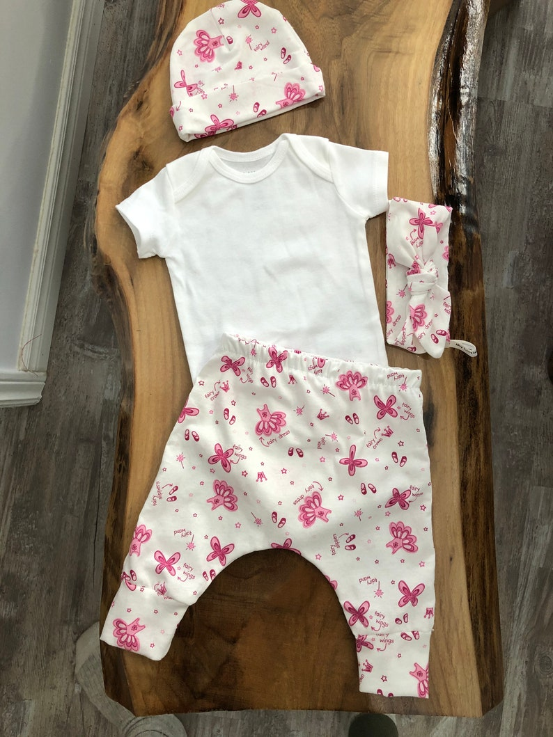 Newborn Baby Shower Gift Fairies Take Home Outfit Babies First Outfit Pink Fairies Coming Home Outfit Baby Girl