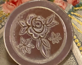 Vintage Mother of Pearl Carved ROSE Button Beautiful