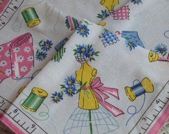 Darling Sewing Themed Ladies Handkerchief Thread Fabric Dress Form Pink / Blue