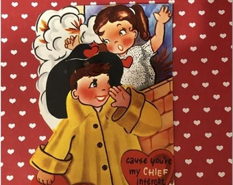 """Larger Vintage Valentine Card Fireman Fire Chief w/ Girl All Fired Up 7.5"""" NOS Free Ship"""