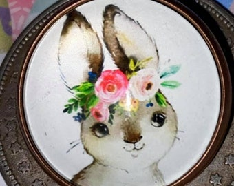 Just the most darling shabby chic bunny was roses on her head DOME Glass Button