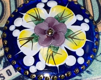 Can't get much prettier than this Cobalt Blue Czech glass button applied pansy large - 0ne + three eights inch