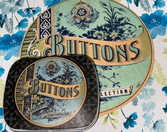 LOVE Small BUTTONS Tin So Sweet - Vintage  French Graphics