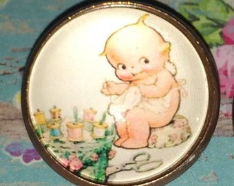 """Kewpie the Seamstress How Cute is This Glass Dome Button 1"""""""