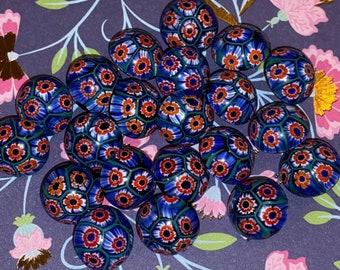 Gorgeous Millefiori style glass Button red white and blue FUN