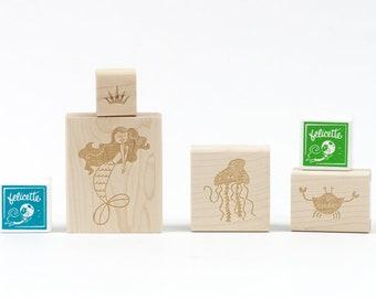 Mermaid & friends Rubber Stamp Craft Kit