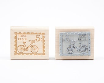 Bicycle Postage Rubber Stamp