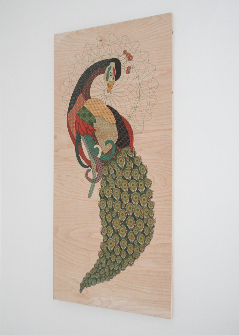 Peacock Wall Art on Plywood peacock design with mid century image 0