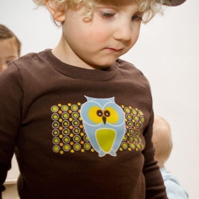 Funky Owl Toddler T-shirt Brown Long Sleeve image 0