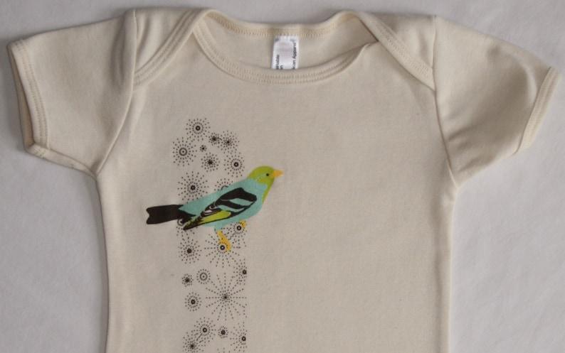 Bird on Sparkles Organic Baby One-Piece image 0