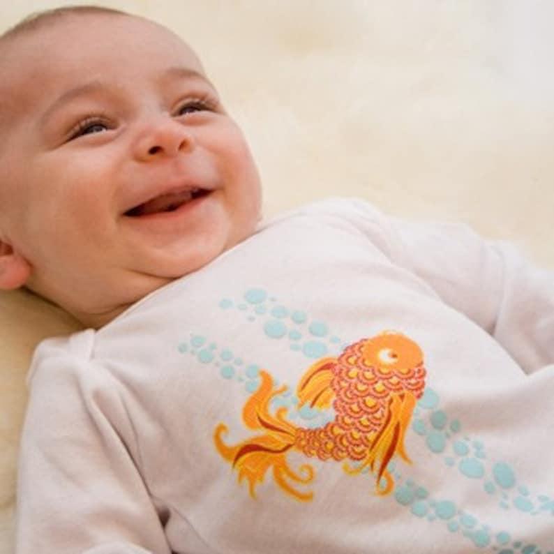 Organic Baby Bodysuit featuring Japanese Koi Fish image 0