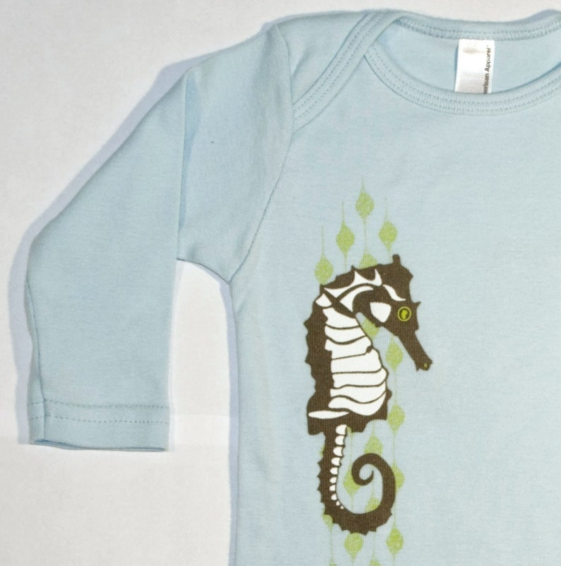 Long Sleeve Blue One-Piece featuring Seahorse design image 0