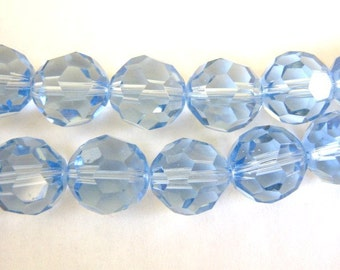 VINTAGE 6 MONTANA BLUE GLASS BICONE PENDANT BEAD BEADS 10x15mm