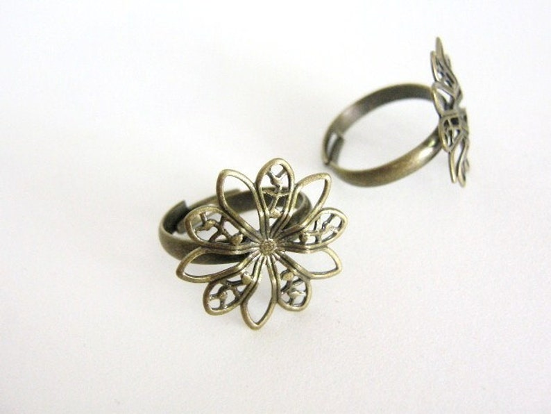 6pc Adjustable Ring Blank Setting 19mm Pad Spike Flower Filigree Antique Bronze Jewelry Supply