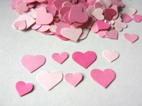 560 Assorted Pink Heart Confetti, Heart Die Cut, 5/16 Inch and 7/16 Inch, Wedding Confetti, Table Scatter