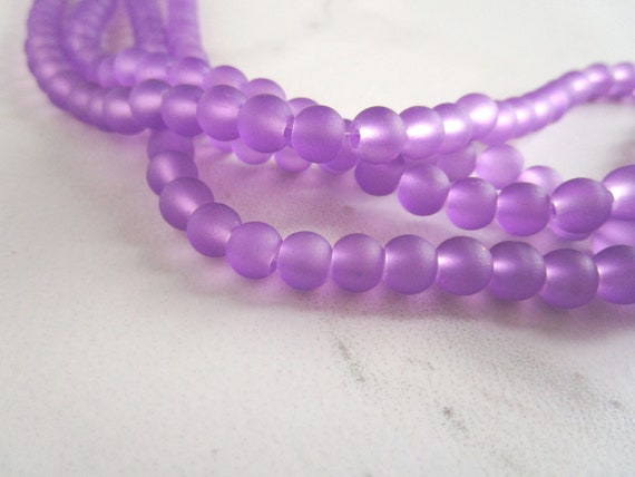 Lavender Frosted Sea Glass Beads 7mm Purple Round 24 Inch Strand