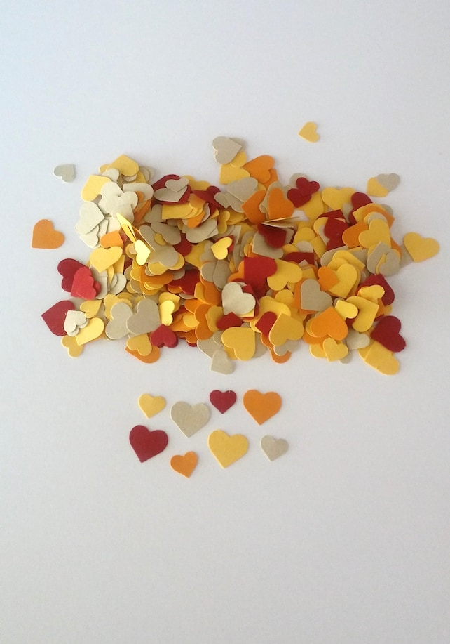 550 Heart Confetti, Yellow Orange Red Beige, Heart Die Cuts, 5/16 Inch and 7/16 Inch, Wedding Confetti, Table Scatter
