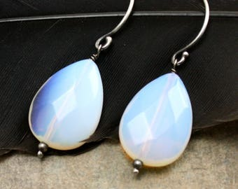 Luster Earrings in Sterling Silver and Opalite Glass