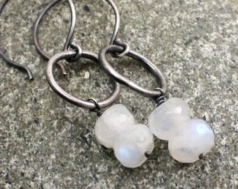 Moonlight Earrings in Rainbow Moonstone and Sterling Silver