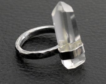 Gazing Ring in Sterling and Fine Silver and Polished Quartz -size 5 1/4