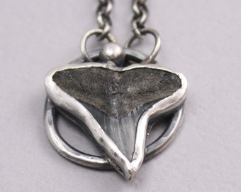 Thorn Necklace in Fossilized Shark Tooth and Sterling Silver