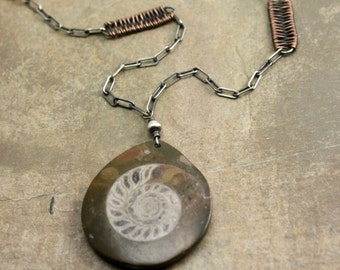 Ammonitea Necklace in Sterling Silver, Copper and Ammonite Fossil