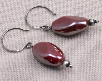 Glacé Rouge Earrings in Glazed Ceramic, and Sterling Silver