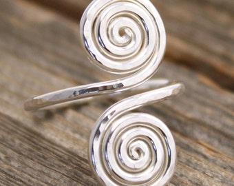 Double Spiral Snake Ring