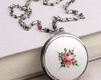 Rose Necklace in Vintage Guilloché, Sterling and Tourmaline