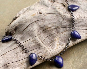 Arrowhead Necklace in Lapis and Sterling Silver