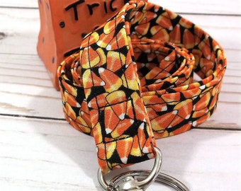 Handmade Candy Corn Lanyard | Popular Right Now | Teacher Lanyard | Badge Holder | Lanyards | ID Holder | ID Badge Holder | Fall Lanyard