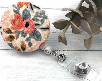 Rifle Paper Co Rosa Badge Reel | Floral Name Tag Holder | Retractable Badge Reel | ID Holder | Badge Holder | Nurse Badge Reel