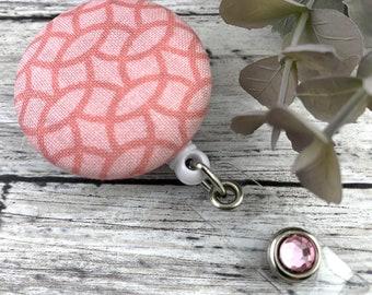 Badge Holder Retractable - Sweet Pink Fabric and Rhinestone Badge Reel for Nurses, Teachers, Technicians
