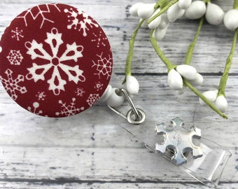 Cute Badge Reel | Snowflake | Snowflakes | Nurse Badge Reel | Badge Holder | Retractable Badge Holder | Popular Right Now