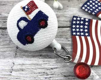Vintage Truck Badge Reel | Nurse Gift | Cute Badge Reels  | Nurse Badge Reel | Nursing Student | Popular Right Now | American Flag