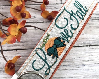Handmade Autumn Keychain Wristlet, Pumpkin, Fall, Personalized Gift, Popular Right Now, Canvas, Autumn Gifts, Fall Gifts