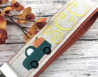 Handmade Autumn Personalized Keychain, Pumpkin, Fall,  Personalized Gift, Monogram, Popular Right Now, Canvas