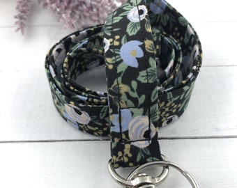 Rifle Paper Co Rosa Lanyard | Fabric Lanyard | Badge ID Holder | Name Tag Lanyard | Keychain | Lanyard for Keys | Floral Key Holder