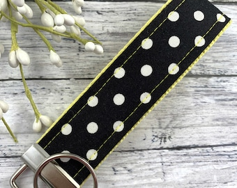 Handmade Wristlet Keychain in Polka Dot fabric, High School Graduation Gift, Best Friend Gifts Long Distance, Preschool Teacher Gifts