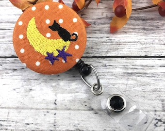 Halloween Badge Reel | Black Cat | RN Badge Reel | Cute Badge Reel  | Nurse Badge Reel | Badge Holder | Popular Right Now