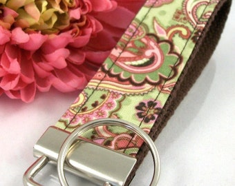 Handmade Wristlet Keychain in Paisley fabric, Boho Keychain, College Graduation Gift for her, I Miss You Gift, Mom Gift from Son