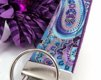 Handmade Wristlet Keychain in Paisley fabric, College Graduation Gift for her, I Miss You Gift, Mom Gift from Son