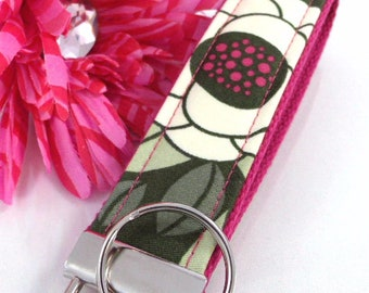 Wristlet Key Fob Floral Magenta Joel Dewberry