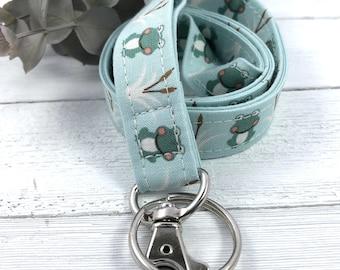 Frog Lanyard | Lanyard Necklace | Fabric Lanyard | Badge ID Holder |Frog Badge Holder |  Lanyard for Keys | Frog Gifts