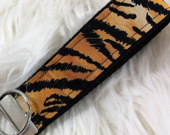 Tiger Stripe Animal Print Wristlet Keychain, Safari Animal Print Keychain, Jungle Animal prints Keychain, Safari Baby Shower Gift