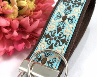 Handmade Jacquard Ribbon Keychain, College Graduation Gift for her, I Miss You Gift, Mom Gift from Son